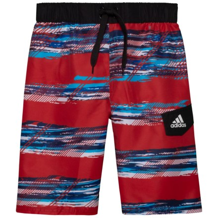 151169087d adidas Abstract Wave Volley Swim Trunks - Red (For Big Boys) in Red -