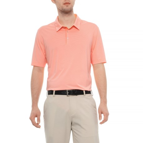 fe60d77b adidas Adipure Stripe Polo Shirt- Short Sleeve (For Men) in Sun Glow