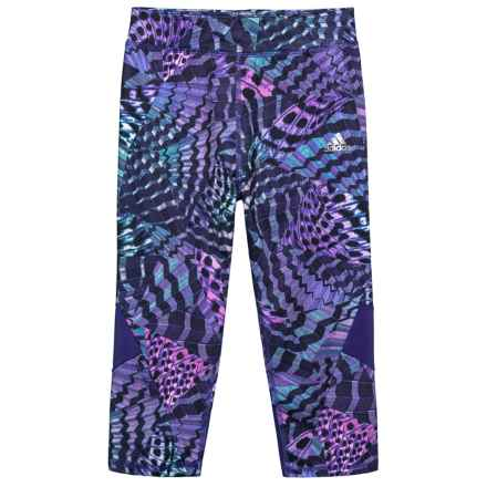 adidas Alpha Printed Capri Tights (For Big Girls) in Purple Print - Closeouts