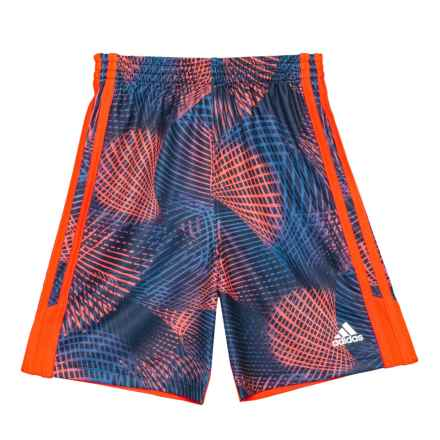 adidas Amplified Net Shorts (For Toddlers and Little Boys) in Red Orange - Closeouts