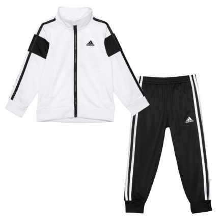 adidas Anthem Tricot Track Jacket and Pants Set - 2-Piece (For Toddler Boys) in White/Black - Closeouts