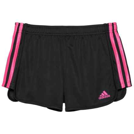adidas Around the Block Mesh Shorts (For Big Girls) in Black/Light Pink - Closeouts