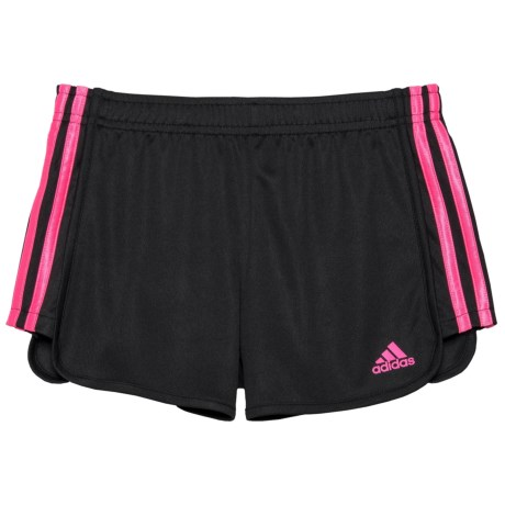 adidas Around the Block Mesh Shorts (For Big Girls) in Black/Light Pink