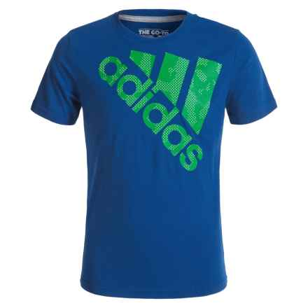 adidas Beezy Logo Tilt 30S T-Shirt - Short Sleeve (For Big Boys) in Collegiate Royal/Green - Closeouts
