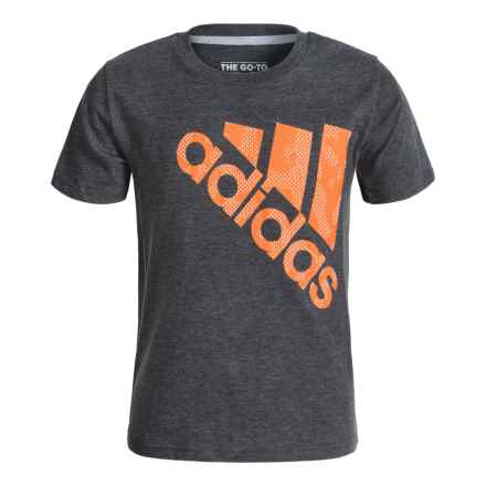 adidas Beezy Logo Tilt 30S T-Shirt - Short Sleeve (For Big Boys) in Dark Grey Heather/Unity Orange - Closeouts