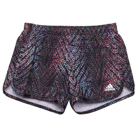 adidas Breakaway Printed Woven Shorts - Built-in Briefs (For Big Girls) in Black Dot Print - Closeouts