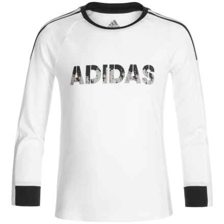 adidas Challenger ClimaLite® T-Shirt - Crew Neck, Long Sleeve (For Little Boys) in White - Closeouts