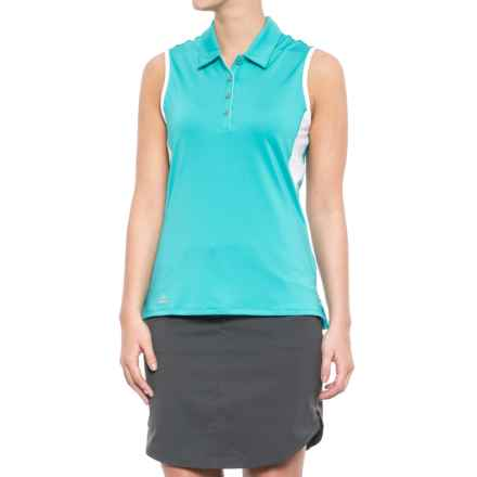 adidas ClimaCool® 3-Stripes Golf Polo Shirt - Sleeveless (For Women) in Energy Blue/White - Closeouts