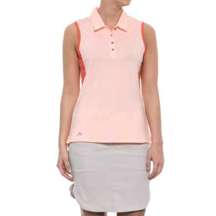 adidas ClimaCool® 3-Stripes Golf Polo Shirt - Sleeveless (For Women) in Haze Coral - Closeouts