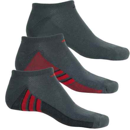 adidas ClimaCool® Superlite No-Show Socks - 3-Pack, Below the Ankle (For Men) in Bold Onix/Black/Sld Red - Closeouts