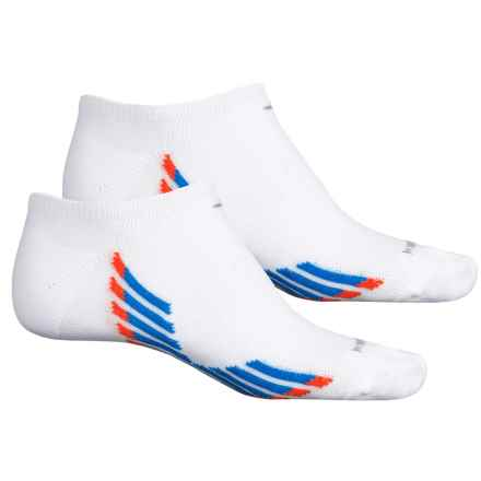 adidas ClimaCool® X II No-Show Socks - 2-Pack, Below the Ankle (For Men) in White/Shock Blue/Bold Orange/Grey - Closeouts