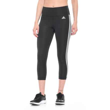 adidas ClimaLite® 3-Stripes Crop Tights (For Women) in Black/White - Closeouts
