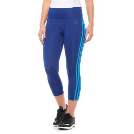 adidas ClimaLite® 3-Stripes Crop Tights (For Women) in Mystery Ink - Closeouts