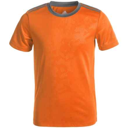 adidas ClimaLite® Beezy Embossed T-Shirt - Crew Neck, Short Sleeve (For Big Boys) in Unity Orange/Granite - Closeouts