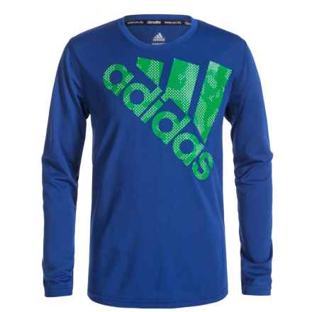 adidas ClimaLite® Beezy Logo Tilt T-Shirt - Long Sleeve (For Big Boys) in Collegiate Royal/Green - Closeouts