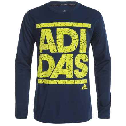 adidas ClimaLite® Crackle Stack T-Shirt - Long Sleeve (For Big Boys) in Collegiate Navy/Shock Slime - Closeouts