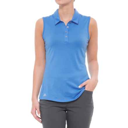 adidas ClimaLite® Heathered Golf Polo Shirt - Sleeveless (For Women) in Lucky Blue - Closeouts