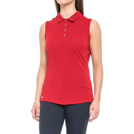 adidas ClimaLite® Heathered Golf Polo Shirt - Sleeveless (For Women) in Power Red