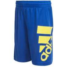 adidas ClimaLite® Oversized Logo Shorts (For Big Boys) in Collegiate Navy/Semi Solar Yellow - Closeouts