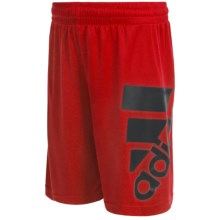 adidas ClimaLite® Oversized Logo Shorts (For Big Boys) in Scarlet Red/Black - Closeouts