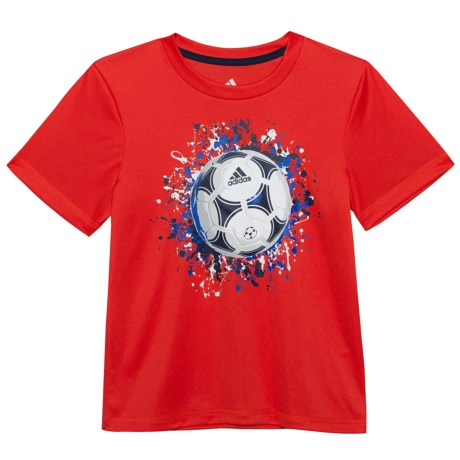adidas ClimaLite® USA T-Shirt - Short Sleeve (For Little Boys) in Bright Red