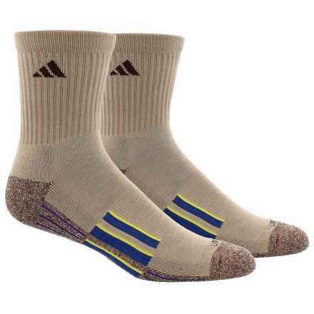 adidas ClimaLite® X II Socks - 2-Pack, Quarter Crew (For Men) in Khaki/Khaki-Chocolate Marl/Shock Slime Green/Real - Closeouts