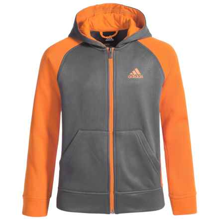 adidas ClimaWarm® Beezy Fleece Hoodie - Full Zip (For Big Boys) in Granite/Unity Orange - Closeouts