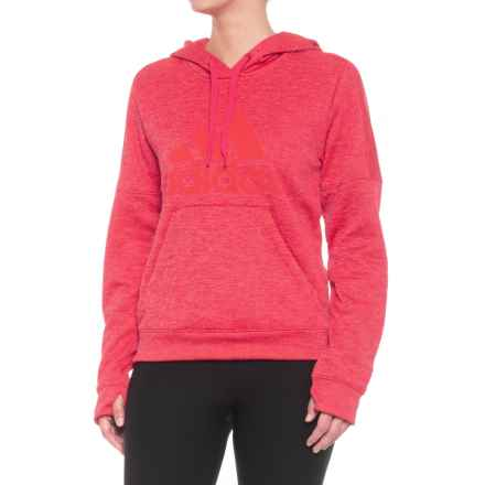 adidas ClimaWarm® Team Issue Fleece Logo Hoodie (For Women) in Fl Energy Pink Mel. - Closeouts
