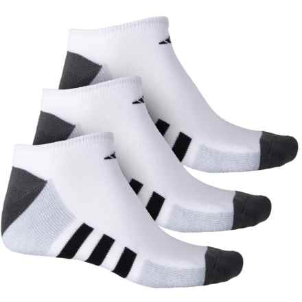 adidas Color Block 3-Stripe No-Show Socks - 3-Pack, Below the Ankle (For Men) in White/Onix Marl/Onix/Black - Closeouts