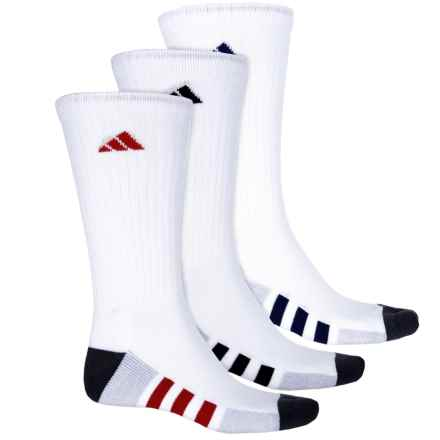 adidas Color-Block 3-Stripe Socks - Crew, 3-Pack (For Men) in White/Clear Onix Marl/Onix/Night Sky/Scarlet - Closeouts