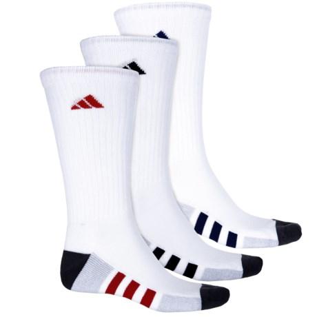 adidas Color-Block 3-Stripe Socks - Crew, 3-Pack (For Men) in White/Clear Onix Marl/Onix/Night Sky/Scarlet