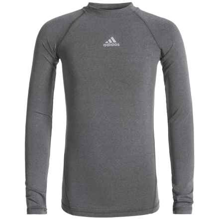 adidas Core Compression ClimaLite® T-Shirt - Long Sleeve (For Big Boys) in Dark Grey Heather - Closeouts