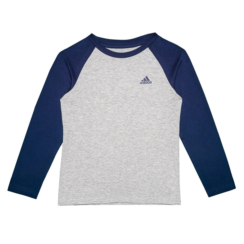 ae2334b16e9918 adidas Cotton Jersey Baseball Shirt - Long Sleeve (For Little Boys) in Grey  Heather ...