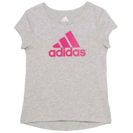 adidas Cotton T-Shirt - Short Sleeve (For Little Girls) in Grey Heather W/Gradient Print - Closeouts