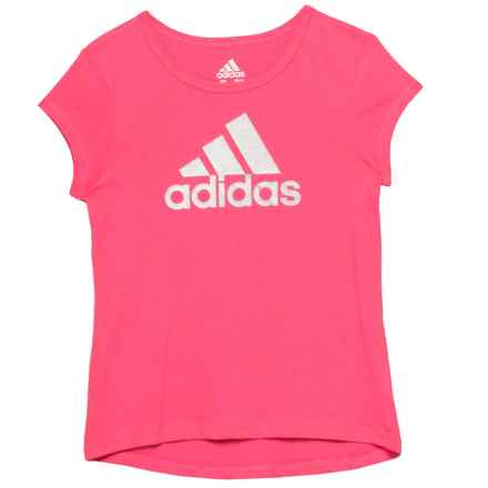 adidas Cotton T-Shirt - Short Sleeve (For Little Girls) in Solar Pink W/Silver Metallic - Closeouts