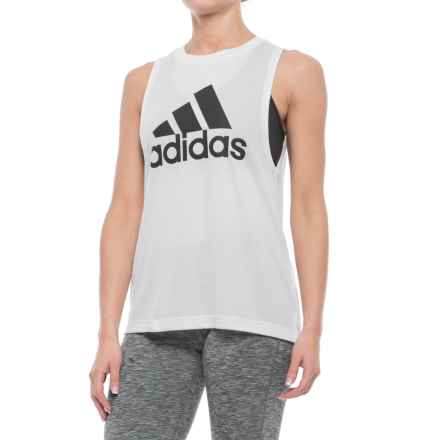 adidas Deep Poly Box Tank Top (For Women) in White - Closeouts