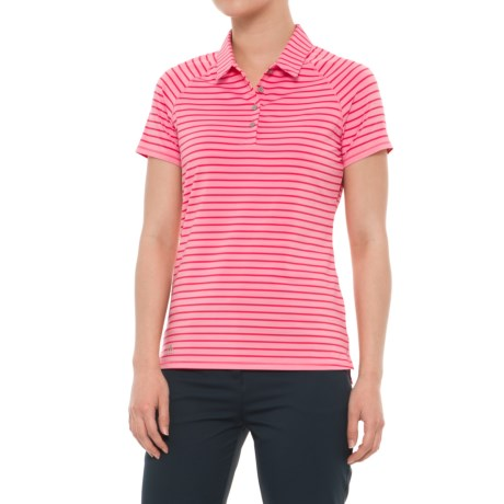 adidas Double Stripe Polo - UPF 50, Short Sleeve (For Women) in Easy Pink