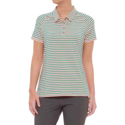 adidas Double Stripe Polo - UPF 50, Short Sleeve (For Women) in Haze Coral - Closeouts