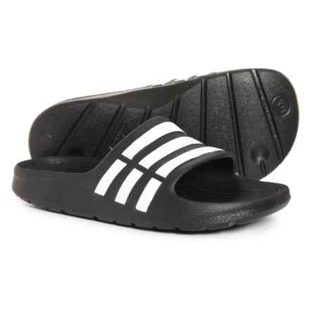 adidas Duramo Slide Sandals (For Little Kids) in Black/White - Closeouts