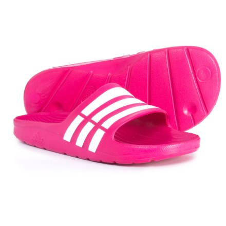 75e6bd706ed6 adidas Duramo Slide Sandals (For Little Kids) in Bold Pink Footwear White -