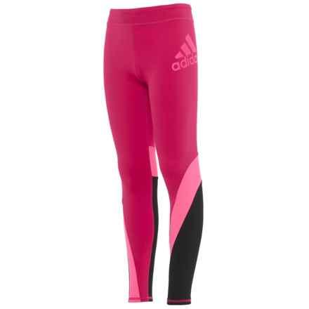 adidas Dynamic Leggings (For Big Girls) in Dark Pink - Closeouts