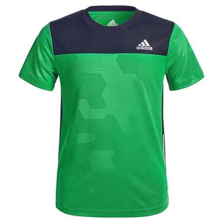 adidas Embossed Digi ClimaLite® T-Shirt - Short Sleeve (For Big Boys) in Solar Lime/Collegiate Navy - Closeouts