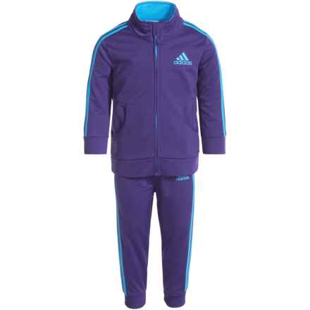 adidas Essential Tricot Sweatshirt and Joggers Set (For Infant Girls) in Dark Purple - Closeouts
