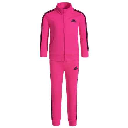 adidas Essential Tricot Sweatshirt and Joggers Set (For Toddler Girls) in Neon Pink - Closeouts