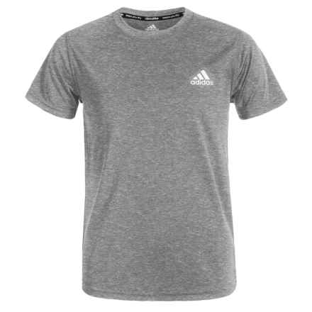 adidas Essentials ClimaLite® T-Shirt - Short Sleeve (For Big Boys) in Medium Grey Heather - Closeouts