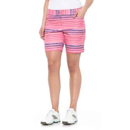 """adidas Essentials Printed Golf Shorts - 7"""" (For Women) in Easy Pink - Closeouts"""
