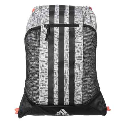 adidas Fat Stripes II Sackpack Backpack in White Grip/Black/Sun Glow - Closeouts