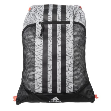 b2ad8cfb2db6 adidas Fat Stripes II Sackpack in White Grip Black Sun Glow - Closeouts