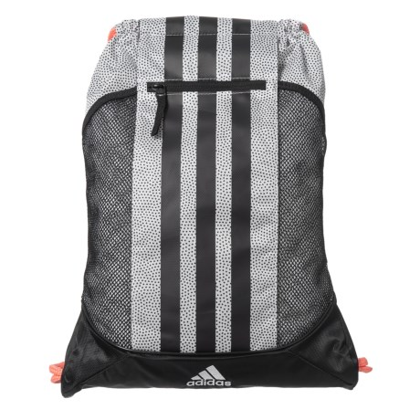 b3715928e464 adidas Fat Stripes II Sackpack in White Grip Black Sun Glow