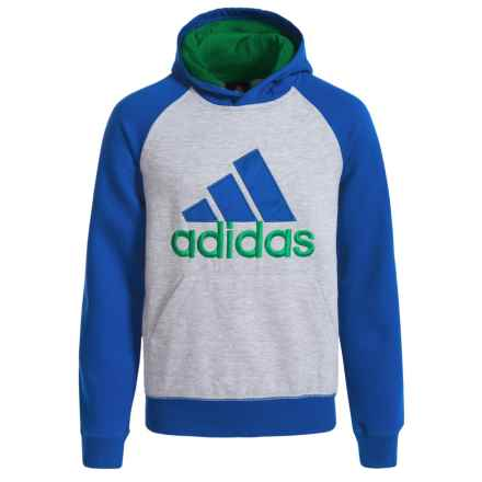 adidas Fleece Blocked Pullover Hoodie - Cotton Blend (For Big Boys) in Medium Grey Heather/Collegiate Royal - Closeouts